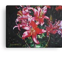 Pink Lilies at Night Canvas Print