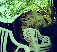 Vintage photo of Chairs in backyard by Quentina Chan