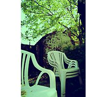 Vintage photo of Chairs in backyard Photographic Print