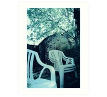 Monochrome of Chairs in Backyard Art Print