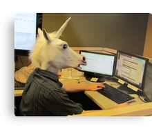 Unicorn in a cubicle #2 - the crushing of the soul Metal Print