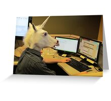 Unicorn in a cubicle #2 - the crushing of the soul Greeting Card