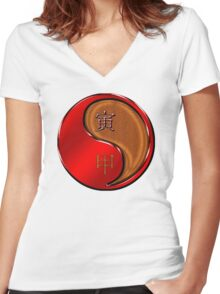 Tiger Yang Wood  Women's Fitted V-Neck T-Shirt