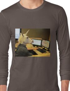 Unicorn in a cubicle #2 - the crushing of the soul Long Sleeve T-Shirt