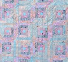 Quilted Log Cabin In Pastels by Jean Gregory  Evans