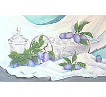 Italian Plums and Crystal Photographic Print