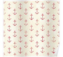 Vintage anchor pattern Poster