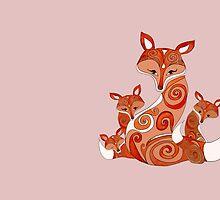 FOX FAMILY WHITE by Monika Strigel