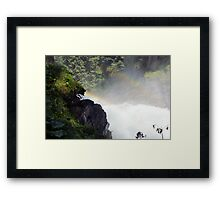 Two rainbow's one waterfal in Austria Krimml  Framed Print