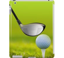 Golf ball and driver on green grass iPad Case/Skin