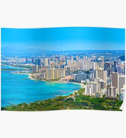 Honolulu city, Oahu, Hawaii Poster