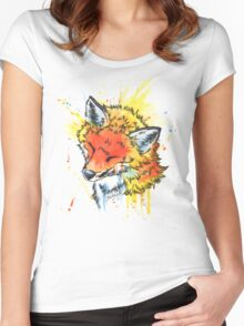 Fox Watercolor Women's Fitted Scoop T-Shirt
