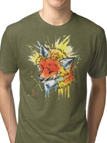 Fox Watercolor Tri-blend T-Shirt