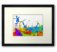Colourful paint splashes Framed Print