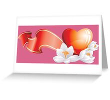 Passionate heart with flowers Greeting Card