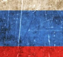 Vintage Aged and Scratched Russian Flag Sticker
