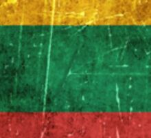 Vintage Aged and Scratched Lithuanian Flag Sticker