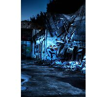 Abandoned Nightime Garage Photographic Print