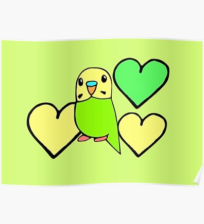 Green Budgie with Hearts Poster