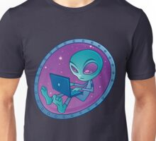 Alien with Laptop Computer Unisex T-Shirt