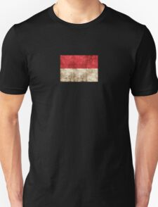 Vintage Aged and Scratched Indonesian Flag T-Shirt