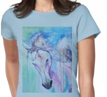 Running in shades of pink and blue Womens Fitted T-Shirt