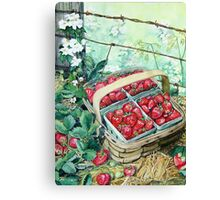Strawberries in a Basket Canvas Print