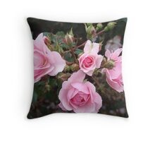 Pink Roses & Rosebuds Throw Pillow