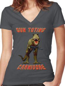 Gun Toting Carnivore II T-Rex Women's Fitted V-Neck T-Shirt