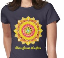 Here Comes the Sun ( sun salutation mandala for dark background) Womens Fitted T-Shirt