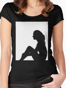 Sitting in the window Women's Fitted Scoop T-Shirt