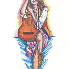 girl with a guitar by Chelle  Terry