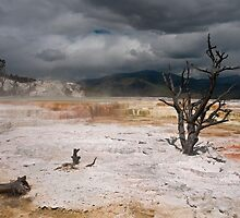 Stormy Skies Over Mammoth Hot Springs by JimGuy