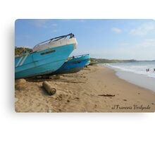 Fishing boats on a beach in Ecuador Canvas Print