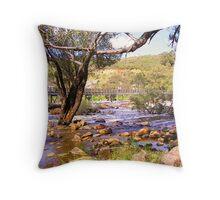 Footbridge across the rapids Throw Pillow