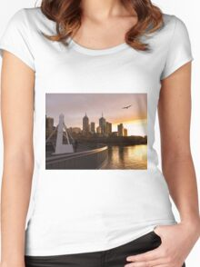 Seagulls over a Southbank sunrise Women's Fitted Scoop T-Shirt