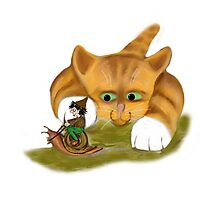 Sprite rides a Snail Past Kitty Photographic Print