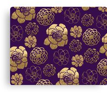 Gold And Purple Flowers Canvas Print