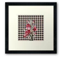 Watercolor Floral Cactus on Black Coral Polka Dots Framed Print