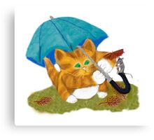 Umbrellas for Mouse and Kitty Canvas Print