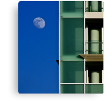 The moon and the building Canvas Print
