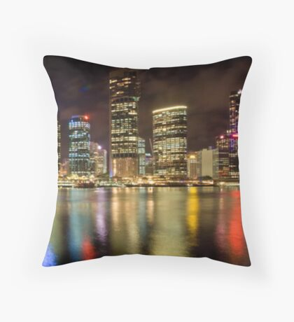 Brisbane Riverside, Australia, by Night Throw Pillow