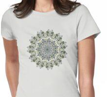 peaceful white flower mandala : alyssum and jewel cacti Womens Fitted T-Shirt