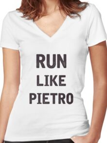 Run Like Pietro  Women's Fitted V-Neck T-Shirt