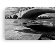 Memorial Bridge Over the Frozen Potomac River Canvas Print