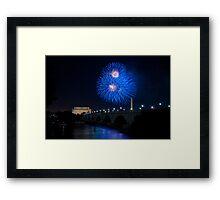 Fireworks over the Lincoln Memorial, Blue Framed Print