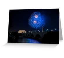 Fireworks over the Lincoln Memorial, Blue Greeting Card