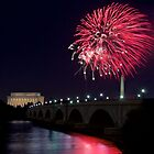 Fireworks over the Lincoln Memorial, Red by Paul Bohman