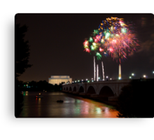 Fireworks over the Lincoln Memorial, Multicolored Canvas Print