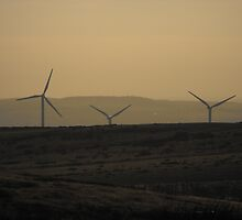 Sunset by the Wind Farm by natassiabailey